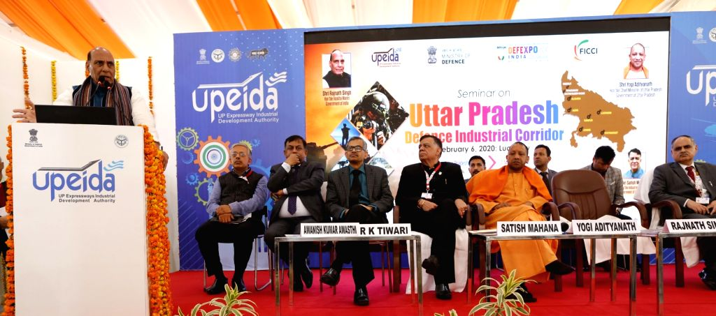 Defence Minister Rajnath Singh addresses a gathering on his visit to Uttar Pradesh Pavilion set up at the DefenceExpo2020, in Lucknow on Feb 6, 2020. - Rajnath Singh