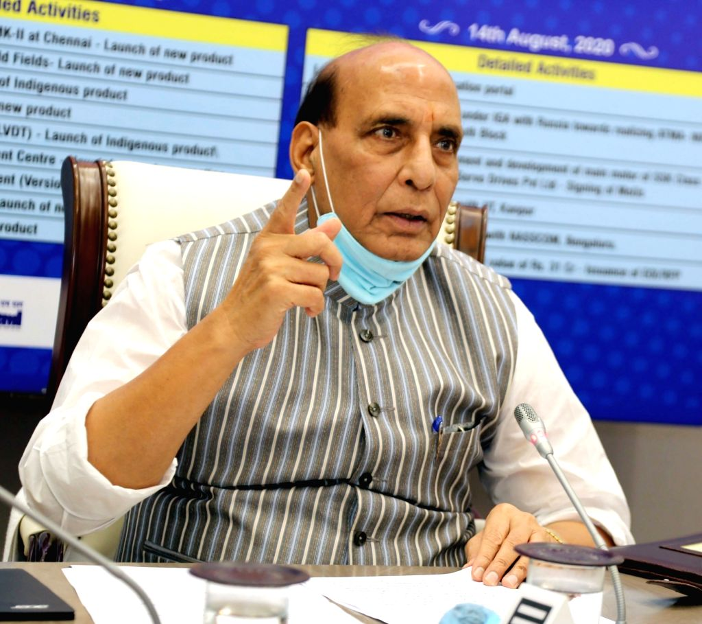 Defence Minister Rajnath Singh addresses at the launch of the Department of Defence Production???s portal SRIJAN, on the final day of ???Atmanirbhar Week??? celebration, in New Delhi on ... - Rajnath Singh