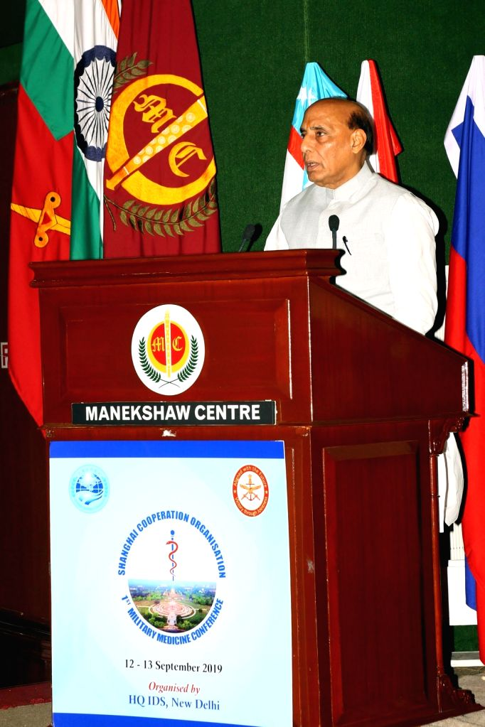 Defence Minister Rajnath Singh addresses at the inauguration of the 1st Military Medicine Conference of Shanghai Co-operation Organisation (SCO) countries, in New Delhi on Sep 12, 2019. - Rajnath Singh