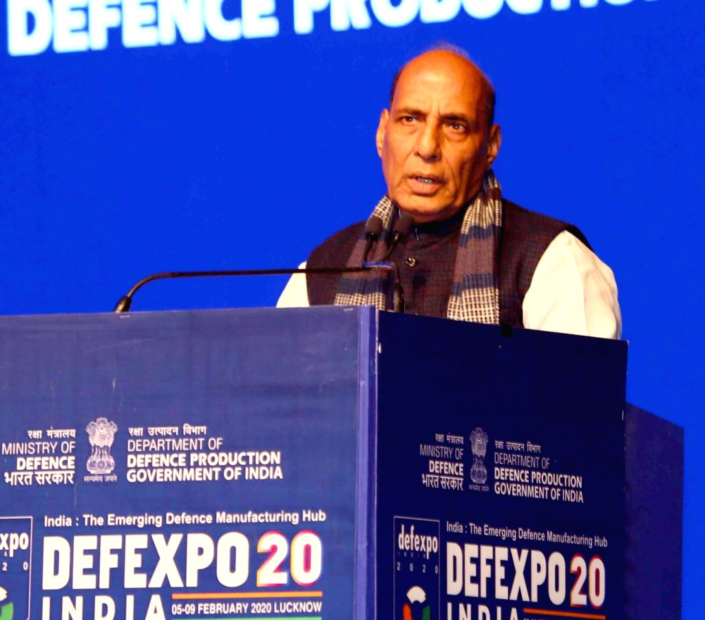 Defence Minister Rajnath Singh addresses at the inaugural session of the 11th edition of DefExpo2020 in Lucknow on Feb 5, 2020. - Rajnath Singh