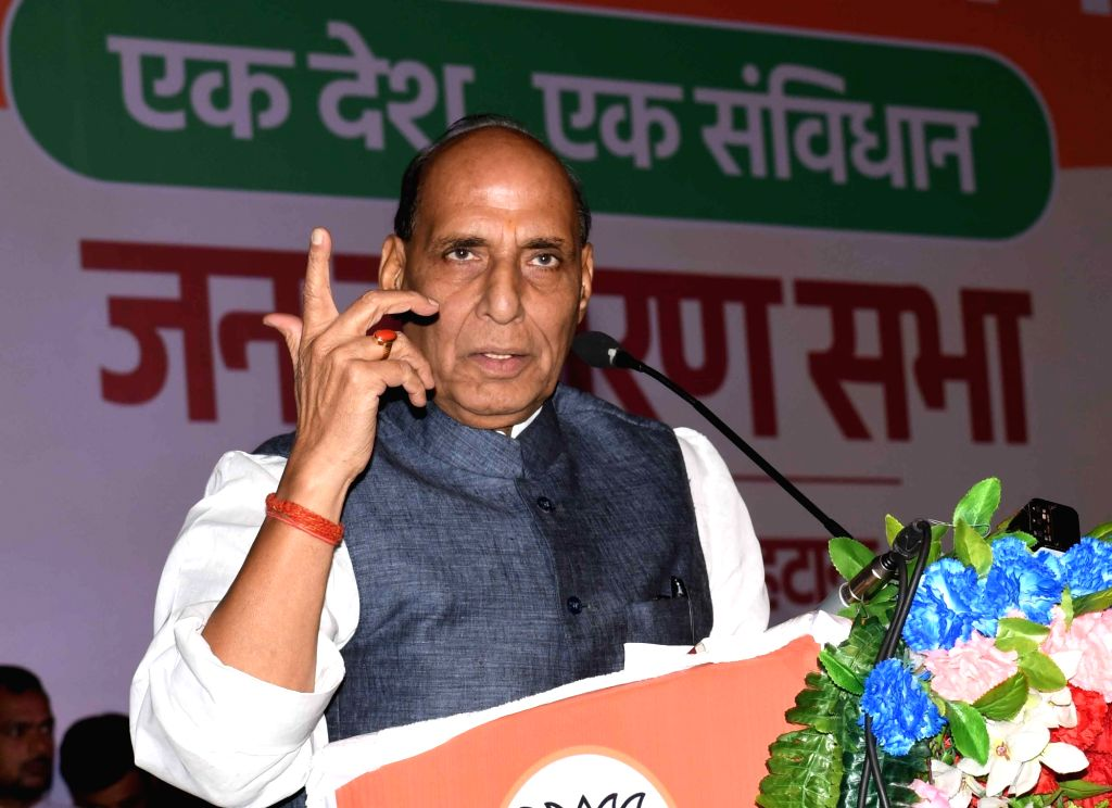 Defence Minister Rajnath Singh addresses during the 'Janjagran' meeting on Article 370 of the Constitution granting special status to Jammu and Kashmir in Patna on Sep 22, 2019. - Rajnath Singh
