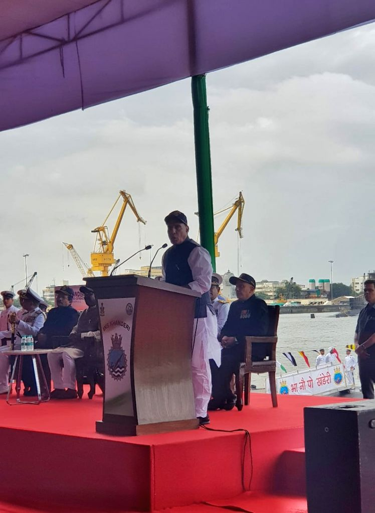 Defence Minister Rajnath Singh addresses during the commissioning ceremony of India's second Scorpene-class attack submarine INS Khanderi into the Indian Navy, at the Mazagon Docks in Mumbai ... - Rajnath Singh