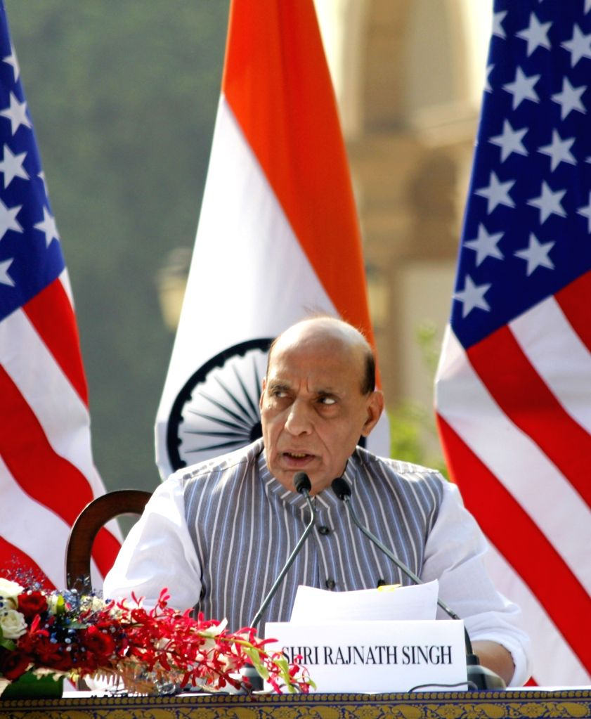 Defence Minister Rajnath Singh addresses the India-USA 2+2 Dialogue at Hyderabad House in New Delhi on Oct 27, 2020. - Rajnath Singh