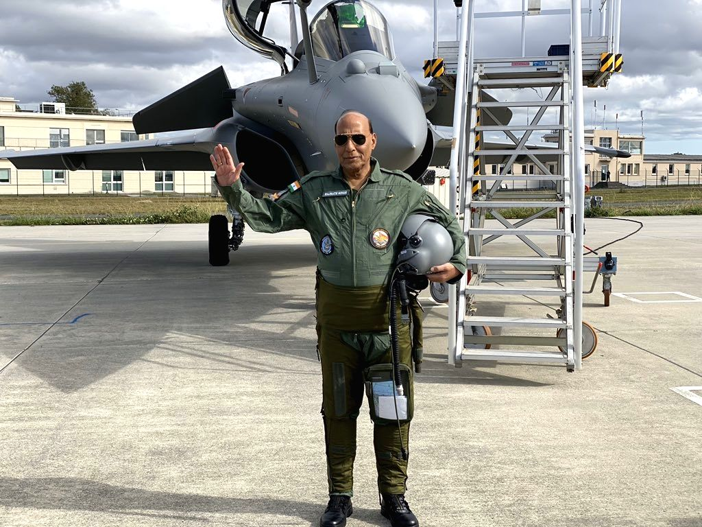 Defence Minister Rajnath Singh all set to undertake a sortie in a twin-seater trainer version of the Rafale fighter aircraft, at the Dassault facility in Merignac, on Oct 8, 2019. - Rajnath Singh