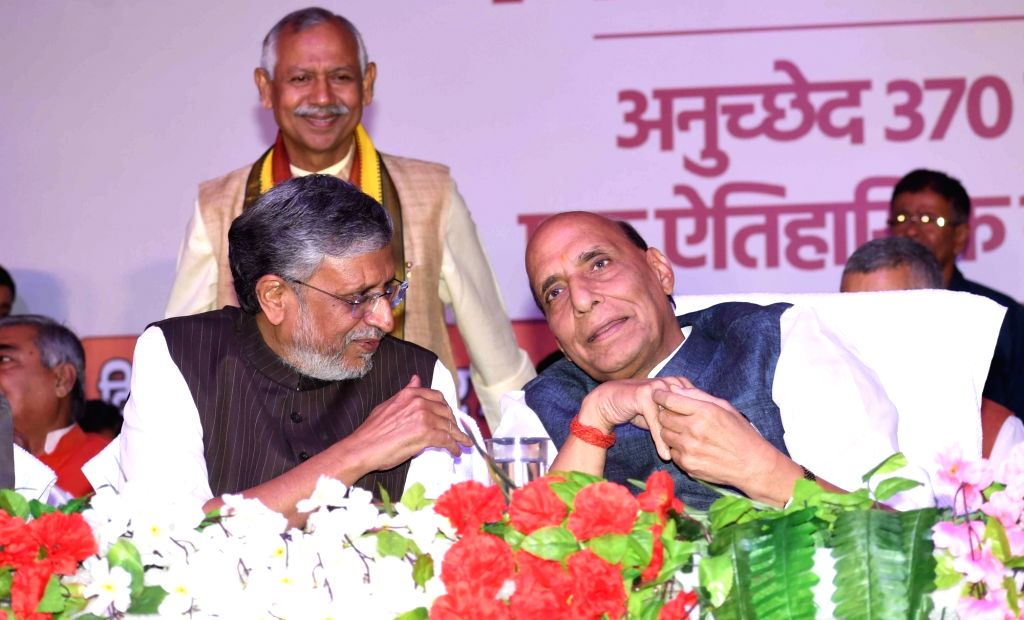 Defence Minister Rajnath Singh and Bihar Deputy Chief Minister Sushil Kumar Modi during the 'Janjagran' meeting on Article 370 of the Constitution granting special status to Jammu and Kashmir ... - Rajnath Singh and Sushil Kumar Modi