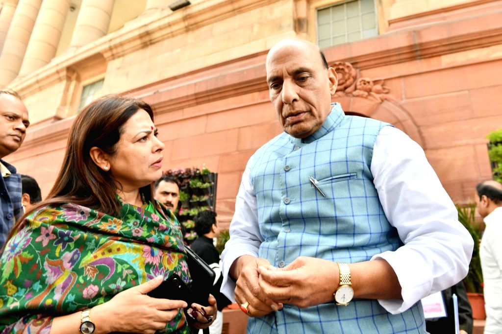 Defence Minister Rajnath Singh and BJP MP Meenakshi Lekhi at Parliament during the Budget Session, in New Delhi on Feb 10, 2020. - Rajnath Singh