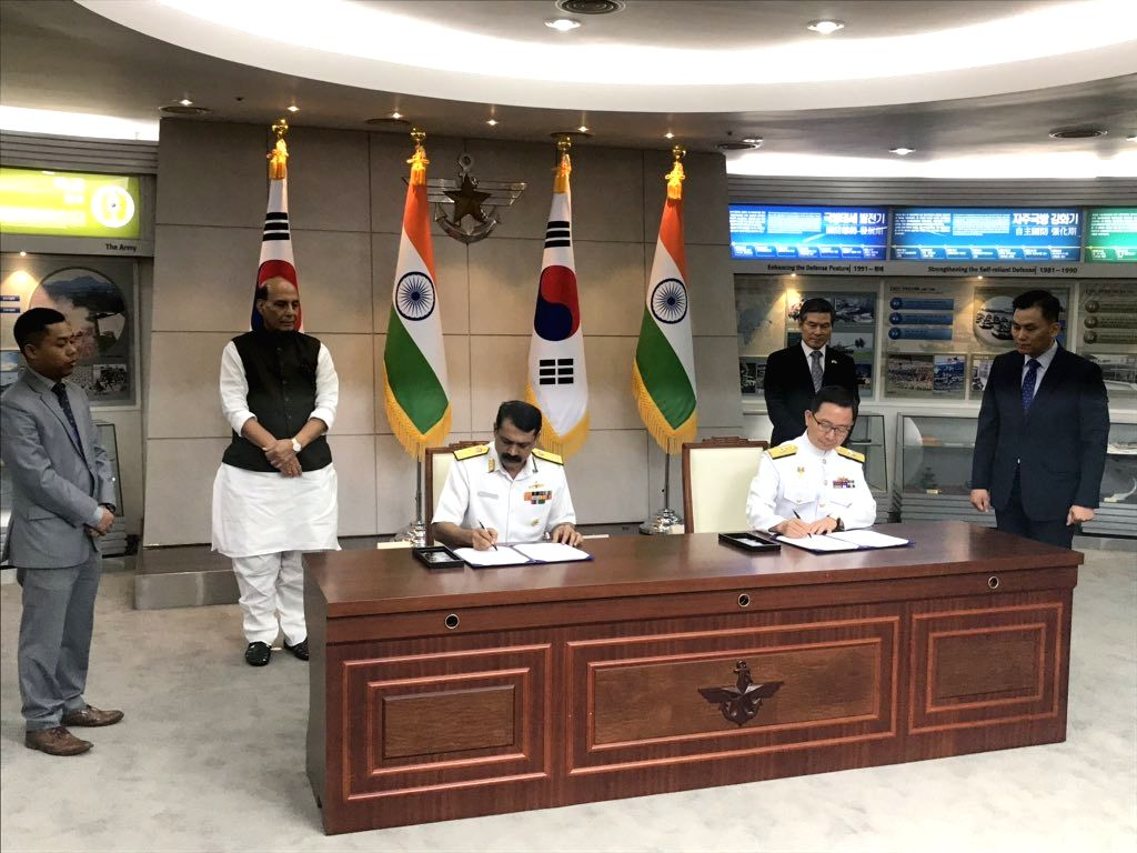Defence Minister Rajnath Singh and Minister of National Defence of Republic of Korea (ROK) Jeong Kyeongdoo witness the signing of Agreements, in Seoul on Sep 5, 2019. Two major agreements to ... - Rajnath Singh