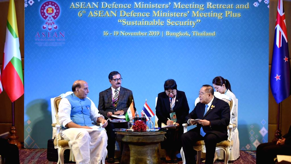 Defence Minister Rajnath Singh and Thailand's Deputy Prime Minister General Prawit Wongsuwan during their bilateral meeting, on the sidelines of ADMM-Plus, in Bangkok on Nov. 17, 2019. - Rajnath Singh
