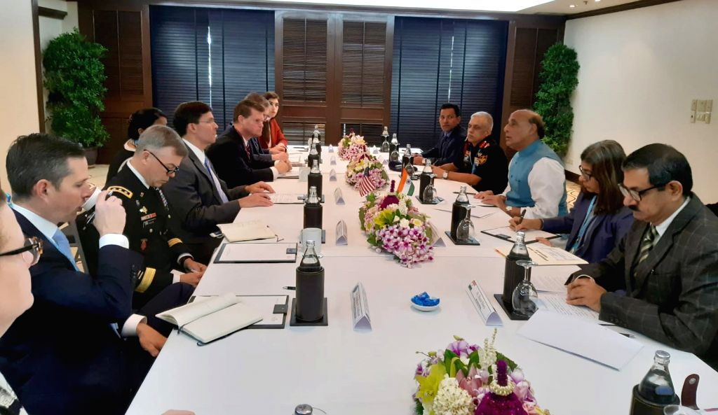 Defence Minister Rajnath Singh and US Defence Secretary Mark T Esper during their bilateral meeting, on the sidelines of ADMM-Plus, in Bangkok on Nov. 17, 2019. - Rajnath Singh