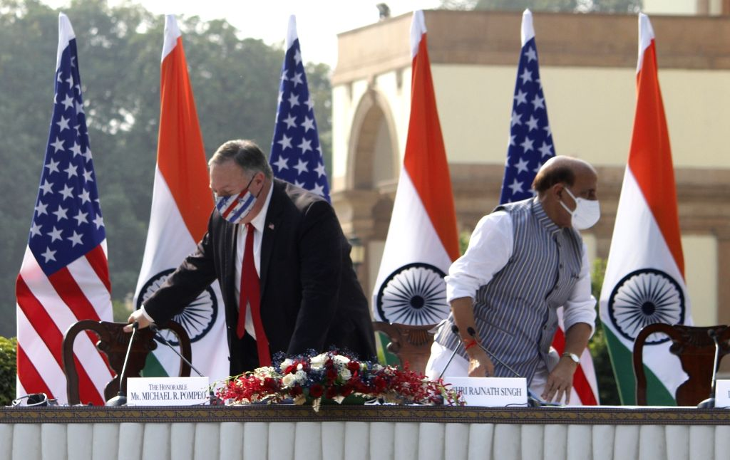 Defence Minister Rajnath Singh and US Secretary of State Mike Pompeo during India-USA 2+2 Dialogue, at Hyderabad House in New Delhi on Oct 27, 2020. - Rajnath Singh