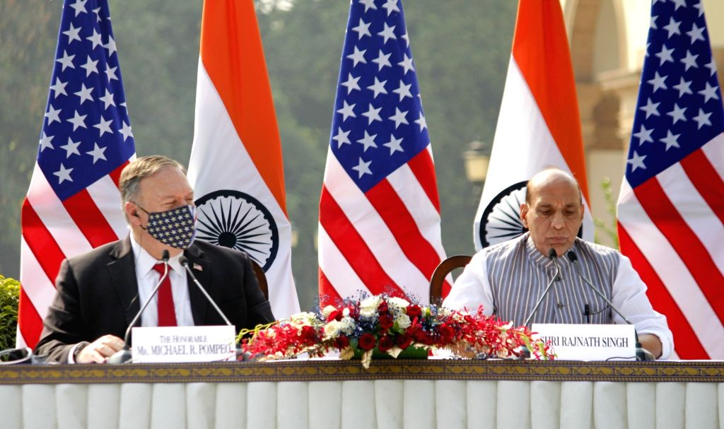 Defence Minister Rajnath Singh and US Secretary of State Mike Pompeo during the India-USA 2+2 Dialogue at Hyderabad House in New Delhi on Oct 27, 2020. - Rajnath Singh