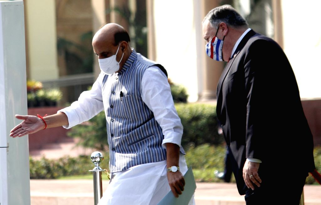 Defence Minister Rajnath Singh and US Secretary of State Mike Pompeo arrive for the India-USA 2+2 Dialogue at Hyderabad House in New Delhi on Oct 27, 2020. - Rajnath Singh