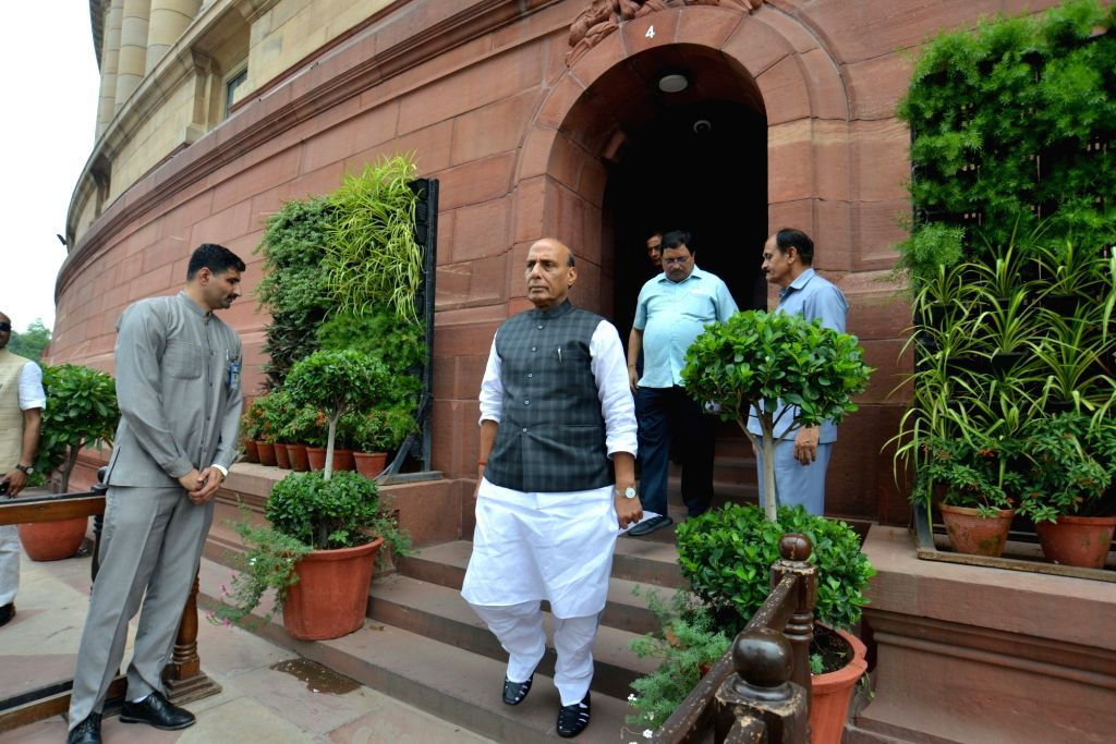 Defence Minister Rajnath Singh at Parliament, in New Delhi on Aug 2, 2019. - Rajnath Singh