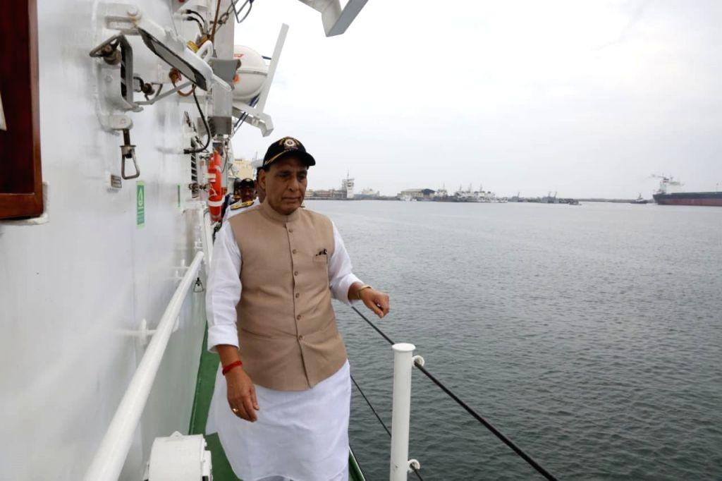 Defence Minister Rajnath Singh at the Commissioning ceremony of the Indian Coast Guard Ship (ICGS) Varaha in Chennai, on Sep 25, 2019. - Rajnath Singh