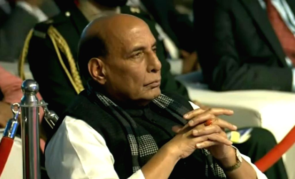 Defence Minister Rajnath Singh at the inaugural session of the DefExpo 2020 in Lucknow on Feb 5, 2020. - Rajnath Singh