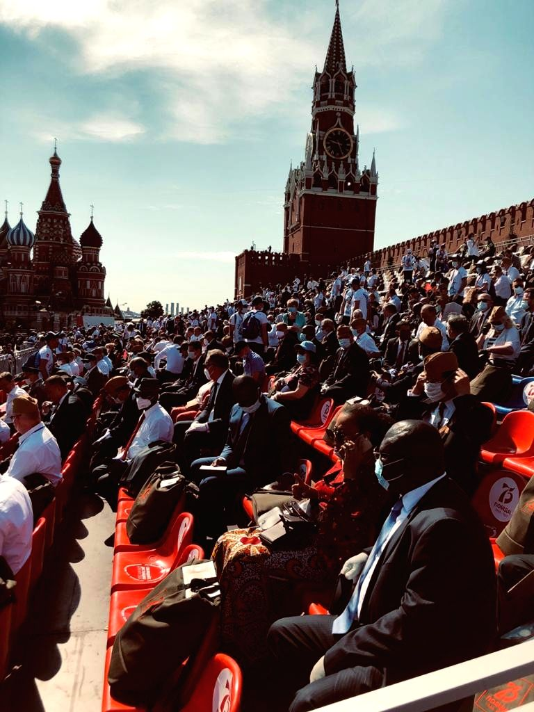 Defence Minister Rajnath Singh attends the Victory Day Parade at Red Square to commemorate the 75th Anniversary of Victory of the Soviet People in the great Patriotic War of 1941-1945, in ... - Rajnath Singh