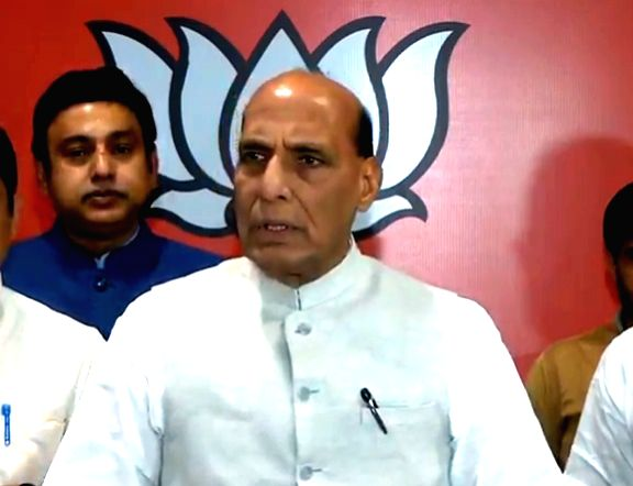 Defence Minister Rajnath Singh briefs media after BJP Parliamentary Board meeting from party headquarters in New Delhi on June 17, 2019. The BJP on Monday announced Jagat Prakash Nadda as ... - Rajnath Singh and Amit Shah