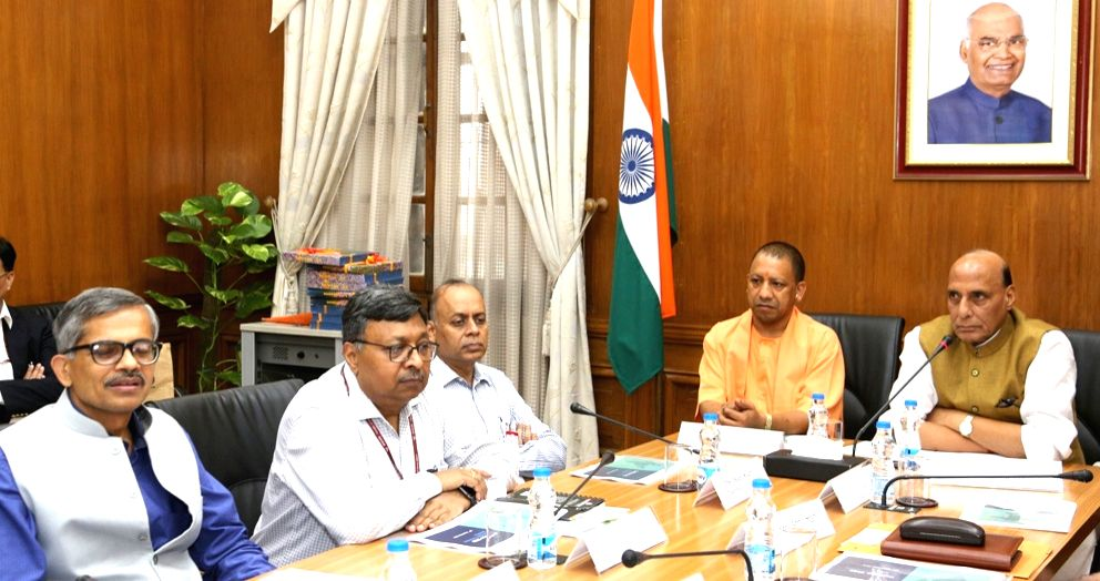 Defence Minister Rajnath Singh chairs the 1st Apex Committee Meeting for DefExpo 2020, in New Delhi on Sep 9, 2019. Also seen Uttar Pradesh Chief Minister Yogi Adityanath and Defence ... - Rajnath Singh and Ajay Kumar
