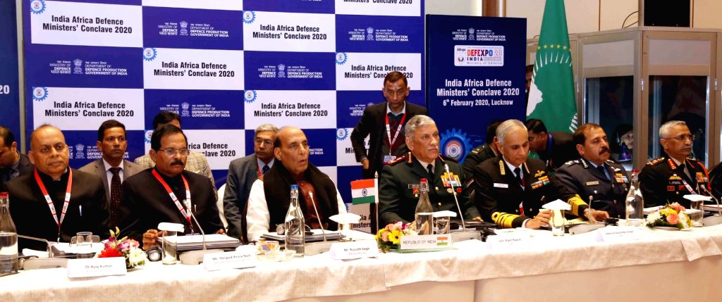 Defence Minister Rajnath Singh chairs the first India-Africa Defence Ministers' Conclave 2020 on the sidelines of the DefExpo2020, in Lucknow on Feb 6, 2020. Also seen MoS Defence Shripad ... - Rajnath Singh and Secretary Ajay Kumar