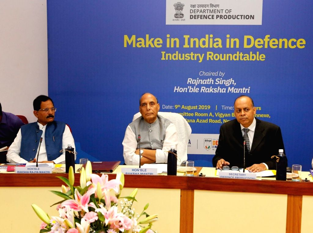 Defence Minister Rajnath Singh chairs the 'Make in India in Defence Industry Roundtable', at Vigyan Bhawan in New Delhi on Aug 9, 2019. Also seen Union MoS Defence Shripad Yesso Naik. - Rajnath Singh