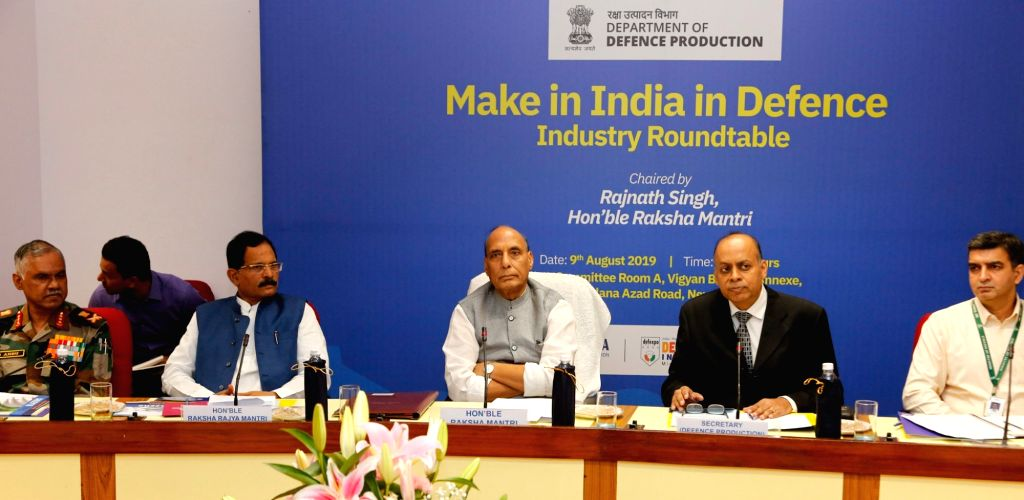 Defence Minister Rajnath Singh chairs the 'Make in India in Defence Industry Roundtable' with captains of defence industry, in New Delhi on Aug 9, 2019. Also seen MoS AYUSH (Independent ... - Rajnath Singh and Ajay Kumar