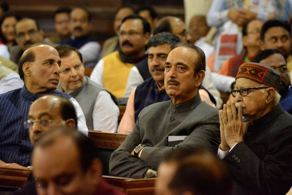 Defence Minister Rajnath Singh, Congress MP Ghulam Nabi Azad and BJP leader LK Advani during a remembrance ceremony organised on the 135th birth anniversary of India's first President ... - Rajnath Singh