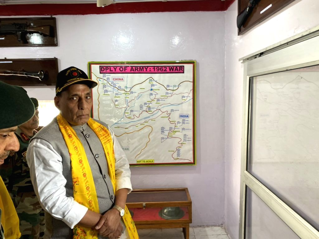 Defence Minister Rajnath Singh during his visit to the Tawang War Memorial to offer his tributes to the fallen soldiers who made their supreme sacrifice during the War of 1962, in Arunachal ... - Rajnath Singh