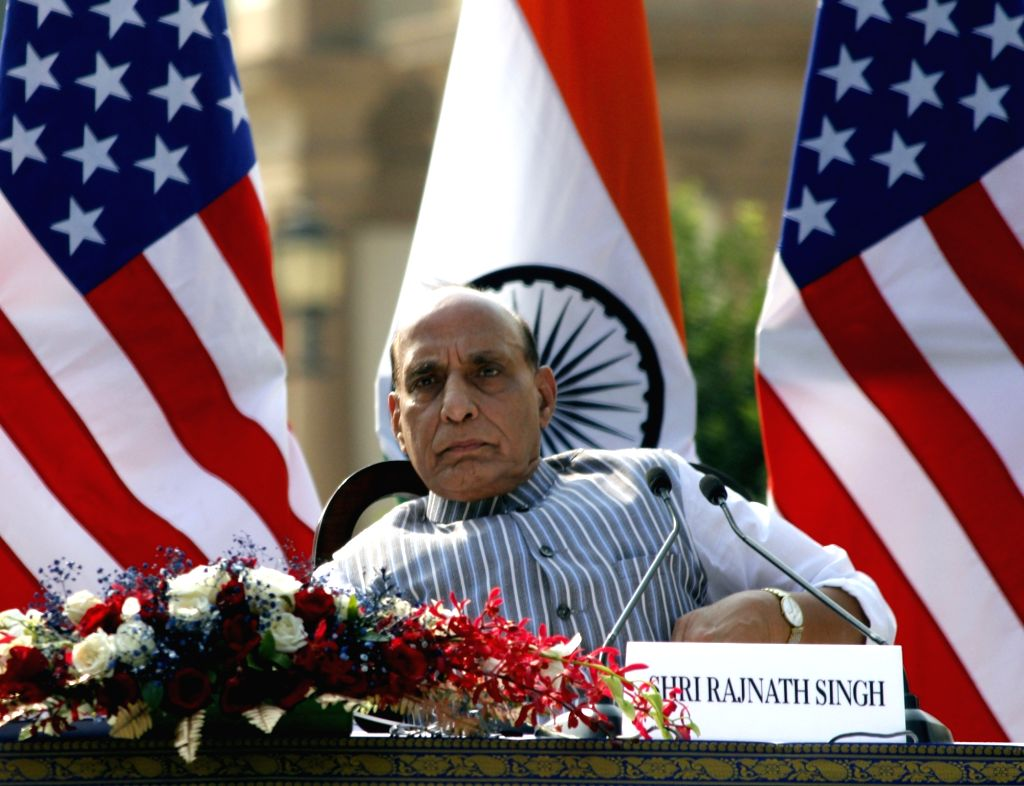 Defence Minister Rajnath Singh during India-USA 2+2 Dialogue, at Hyderabad House in New Delhi on Oct 27, 2020. - Rajnath Singh