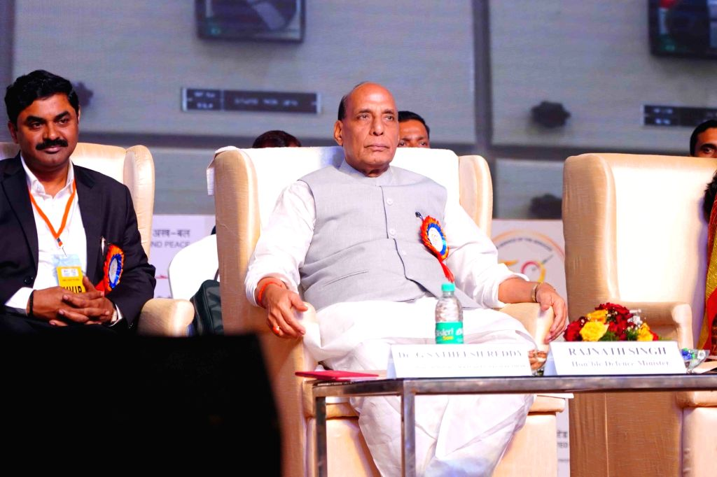 Defence Minister Rajnath Singh during the Golden Jubilee celebrations of Bharat Dynamics Ltd, in Hyderabad on Aug 3, 2019. - Rajnath Singh