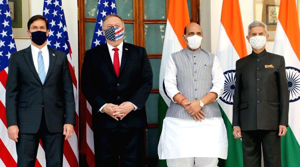 Defence Minister Rajnath Singh, External Affairs Minister S. Jaishankar, US Defence Secretary Dr. Mark T. Esper and US Secretary of State Mike Pompeo ahead of India-USA 2+2 Dialogue, at ... - Rajnath Singh