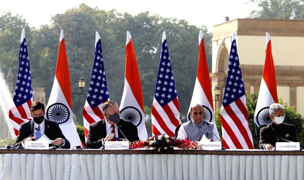 Defence Minister Rajnath Singh, External Affairs Minister S. Jaishankar, US Defence Secretary Dr. Mark T. Esper and US Secretary of State Mike Pompeo during India-USA 2+2 Dialogue, at ... - Rajnath Singh