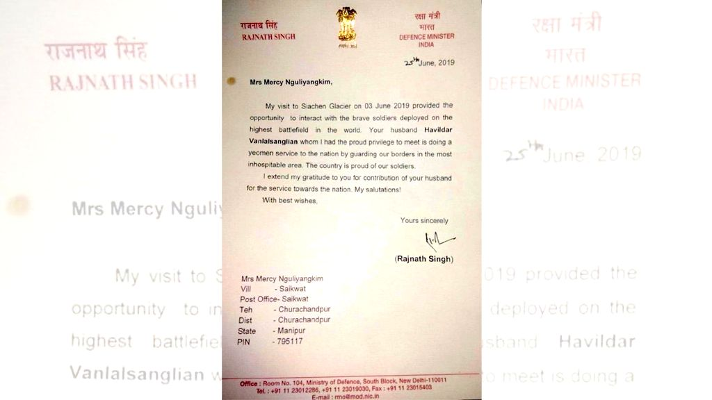 Defence Minister Rajnath Singh has written to the wife of an Army soldier from Manipur posted in Siachen, applauding his grit in protecting the country's sovereignty in the inhospitable terrains. - Rajnath Singh