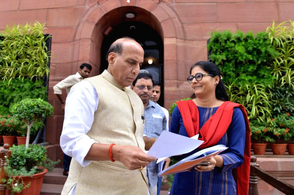 Defence Minister Rajnath Singh in a conversation with Apna Dal MP Anupriya Patel at Parliament, in New Delhi on July 25, 2019. - Rajnath Singh and Anupriya Patel