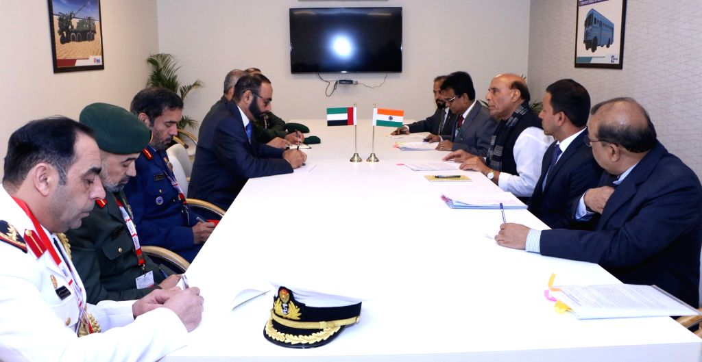 Defence Minister Rajnath Singh meets a delegation led by the Minister of State for Defence Affairs of the UAE, Mohammed Al Bowardi, on the sidelines of Defexpo 2020, in Lucknow on Feb 5, ... - Rajnath Singh