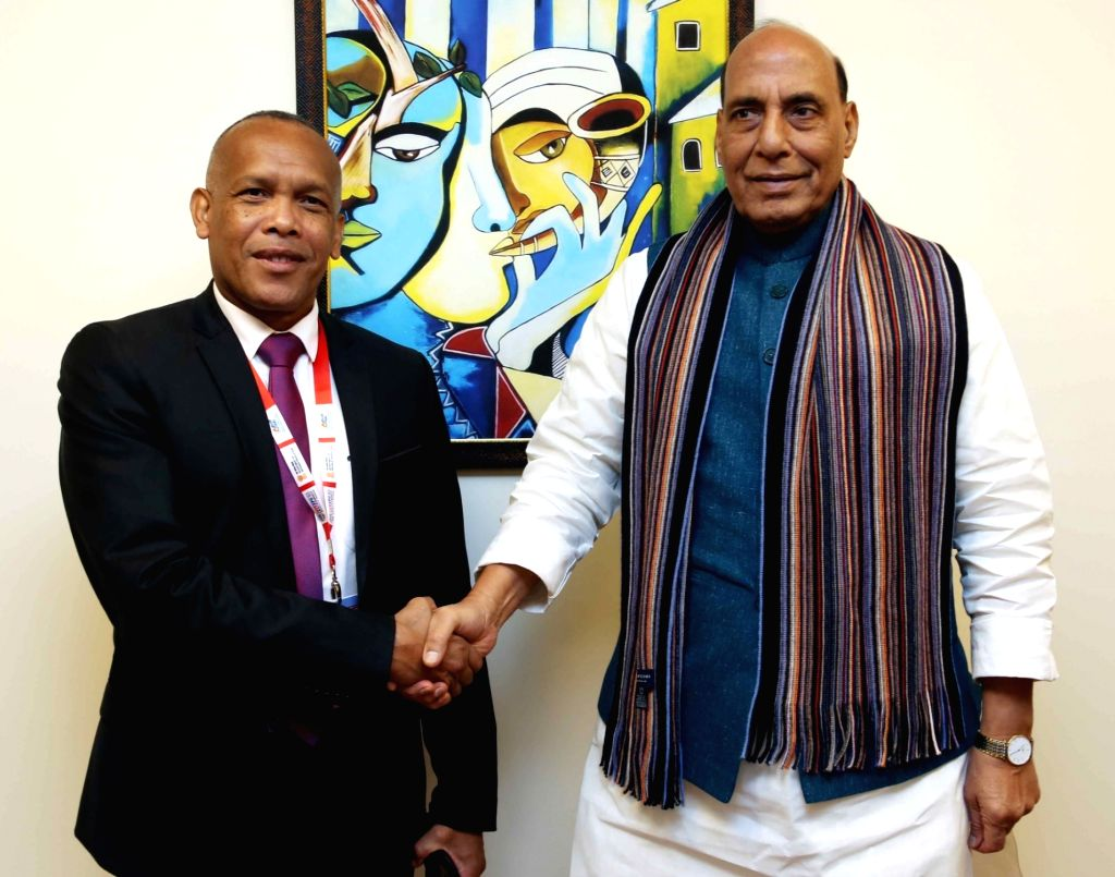 Defence Minister Rajnath Singh meets Madagascar Defence Minister Lt. Gen. Rokotonirina Richard, on the sidelines of Defexpo 2020, in Lucknow on Feb 6, 2020. - Rajnath Singh
