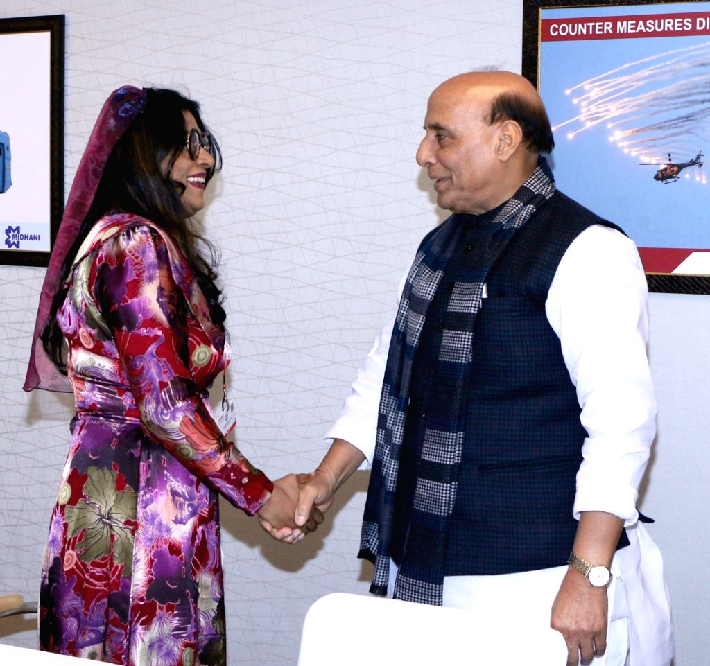 Defence Minister Rajnath Singh meets Maldives Defence Minister Uza Mariya Ahmed Didi, on the sidelines of Defexpo 2020, in Lucknow on Feb 5, 2020. - Rajnath Singh