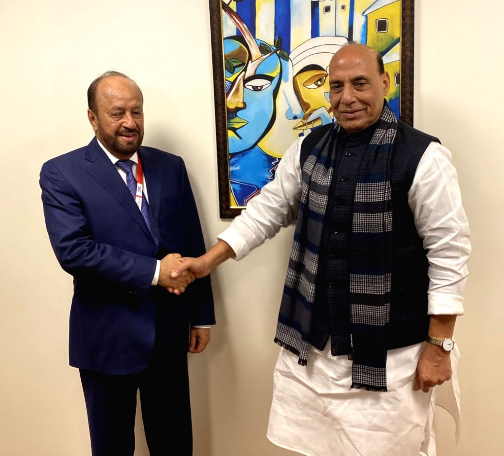 Defence Minister Rajnath Singh meets Omans Defence Minister Sayyid Badr bin Saud Al Busaidi, on the sidelines of Defexpo 2020, in Lucknow on Feb 5, 2020. - Rajnath Singh