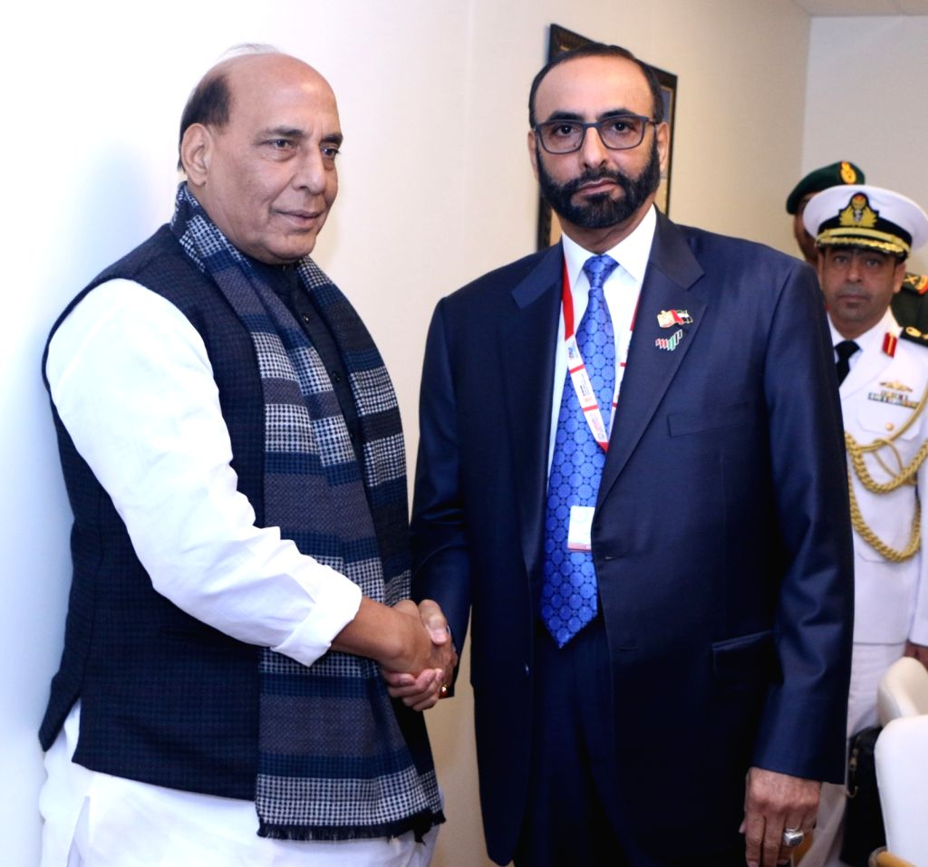 Defence Minister Rajnath Singh meets the Minister of State for Defence Affairs of the UAE, Mohammed Al Bowardi, on the sidelines of Defexpo 2020, in Lucknow on Feb 5, 2020. - Rajnath Singh