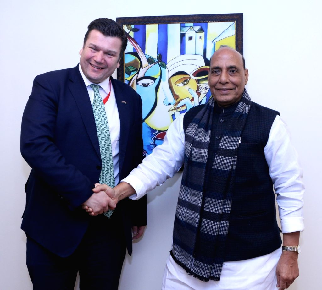 Defence Minister Rajnath Singh meets UK's Defence Procurement Minister James Heappey, on the sidelines of Defexpo 2020, in Lucknow on Feb 5, 2020. - Rajnath Singh