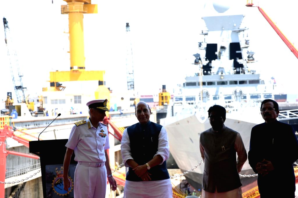 Defence Minister Rajnath Singh, Navy Chief Admiral Karambir Singh and MoS Defence Shripad Yesso Naik during the commissioning ceremony of India's second Scorpene-class attack submarine INS ... - Rajnath Singh