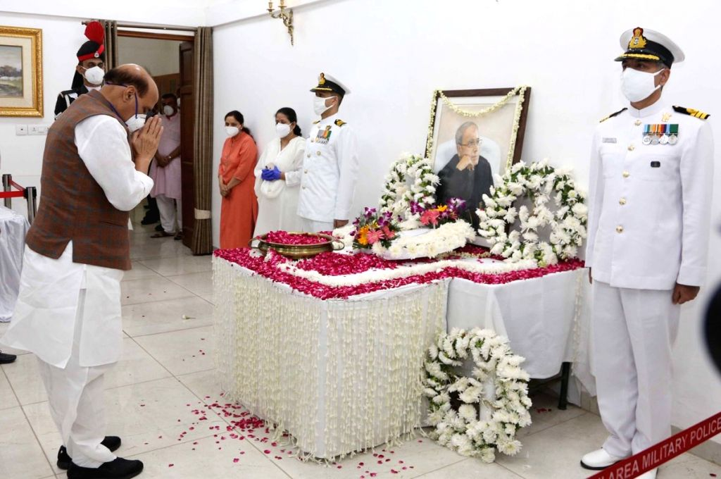 Defence Minister Rajnath Singh pays tributes to Former President Pranab Mukherjee at his 10 Rajaji Marg residence in New Delhi on Sep 1, 2020. Mukherjee passed away on Monday evening at ... - Rajnath Singh and Pranab Mukherjee