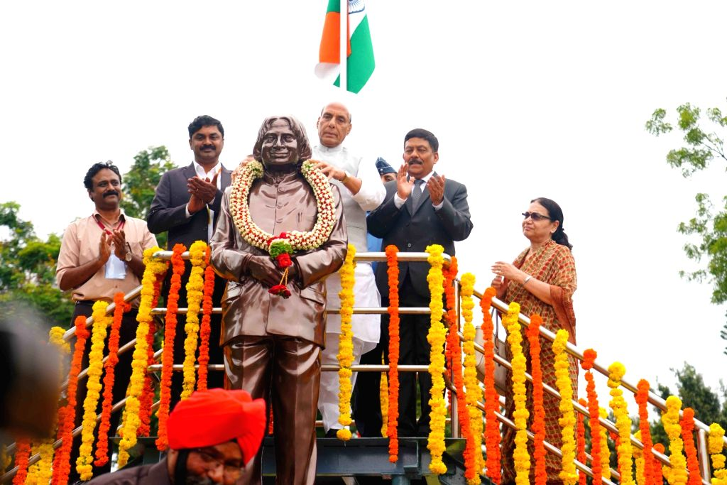 """Defence Minister Rajnath Singh pays tributes to Former President of India Dr A.P.J. Abdul Kalam after unveiling a statue of the """"Missile Man of India"""" during the Golden Jubilee ... - Rajnath Singh"""