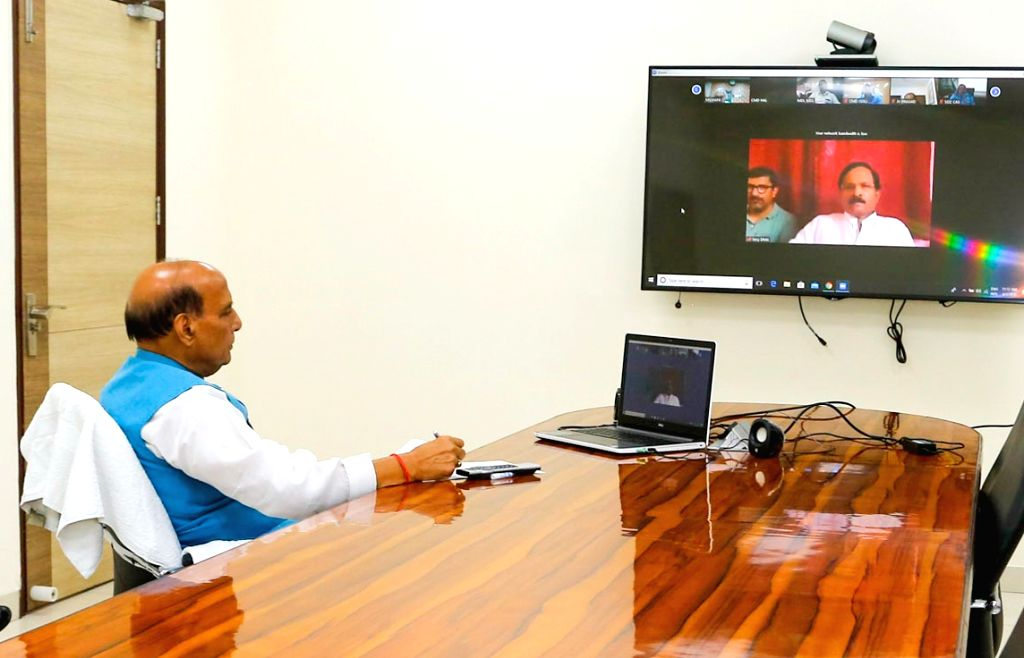 Defence Minister Rajnath Singh reviews efforts being undertaken to contain Coronavirus (COVID-19) with the Minister of State for AYUSH (Independent Charge) and Defence Shripad Yesso Naik ... - Rajnath Singh