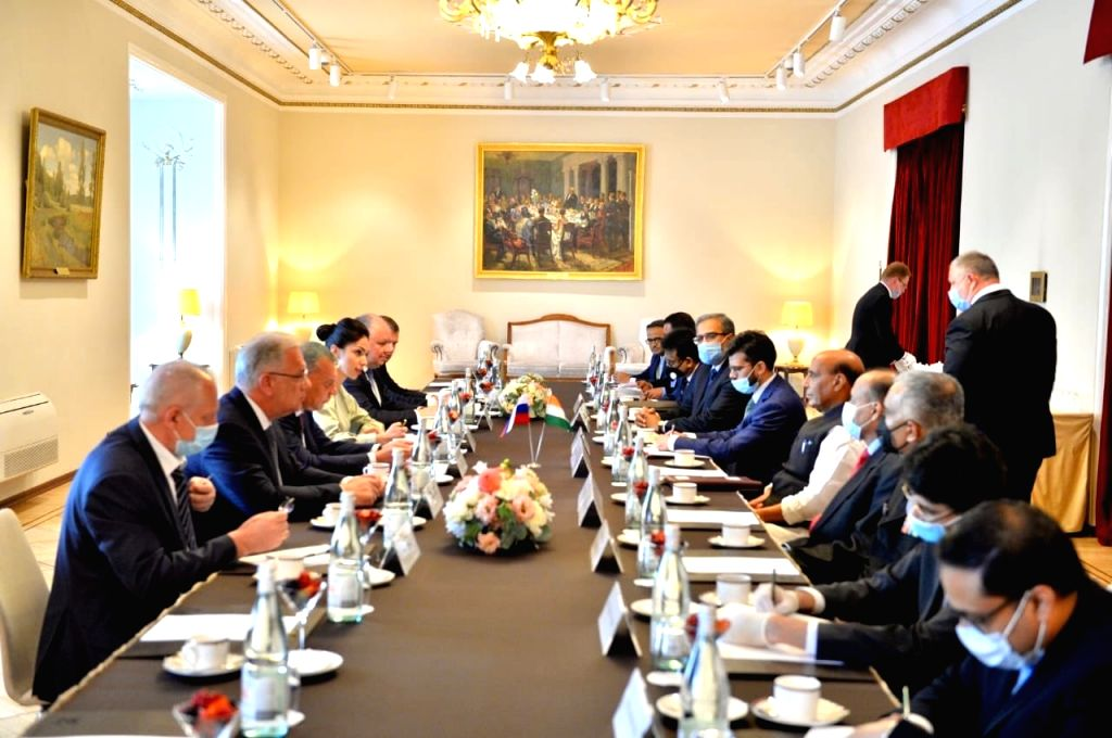 Defence Minister Rajnath Singh reviews India-Russia defence cooperation with Russian Deputy Prime Minister Yury Borisov, in Moscow on June 23, 2020. The Defence Minister is on a 3-day visit ... - Rajnath Singh
