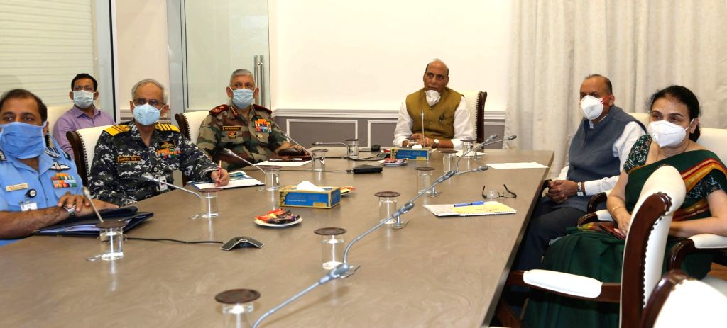 Defence Minister Rajnath Singh reviews the operational preparedness and measures undertaken to fight COVID-19 with the various Commanders in Chief via video conference during the extended ... - Rajnath Singh and Secretary Ajay Kumar