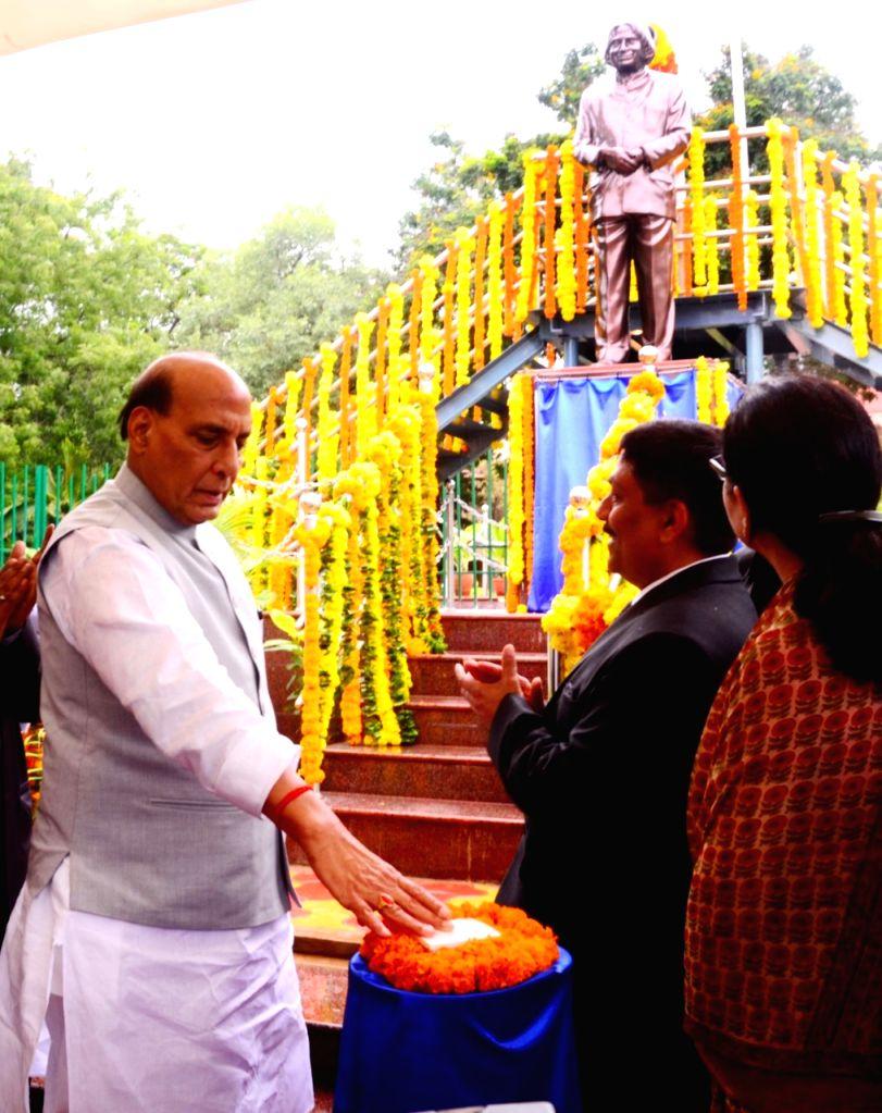 Defence Minister Rajnath Singh unveils the statue of Former President of India Dr A.P.J. Abdul Kalam during the Golden Jubilee celebrations of Bharat Dynamics Ltd, in Hyderabad on Aug 3, ... - Rajnath Singh