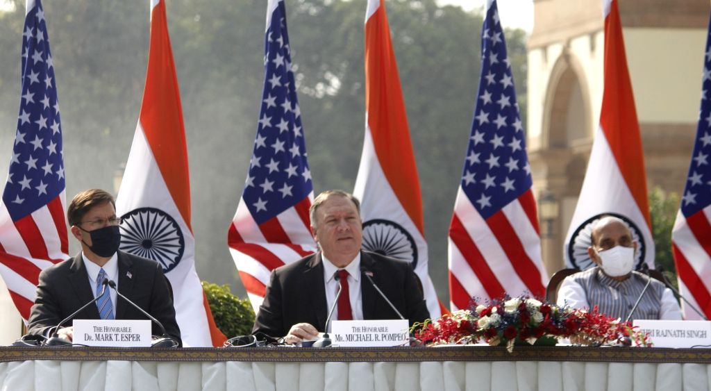 Defence Minister Rajnath Singh, US Defence Secretary Dr. Mark T. Esper and US Secretary of State Mike Pompeo during India-USA 2+2 Dialogue, at Hyderabad House in New Delhi on Oct 27, 2020. - Rajnath Singh