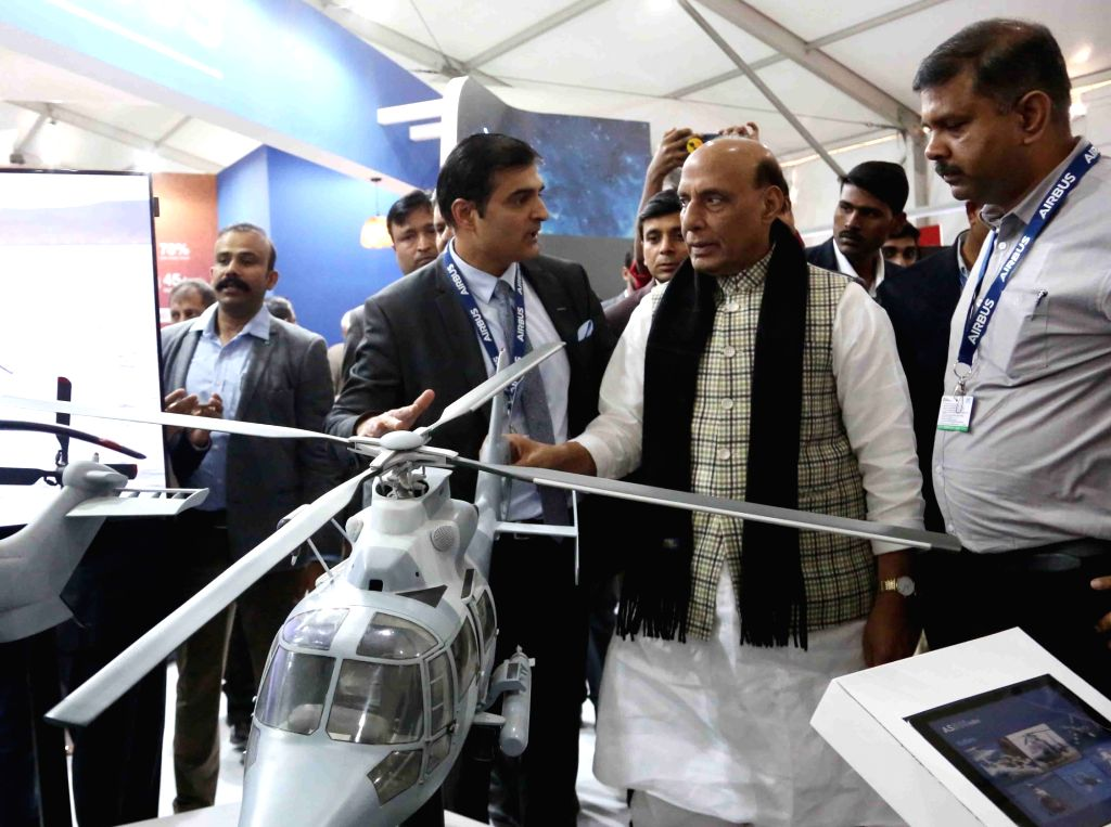 Defence Minister Rajnath Singh visiting the various stalls during the DefExpo 2020, in Lucknow on Feb 7, 2020. - Rajnath Singh