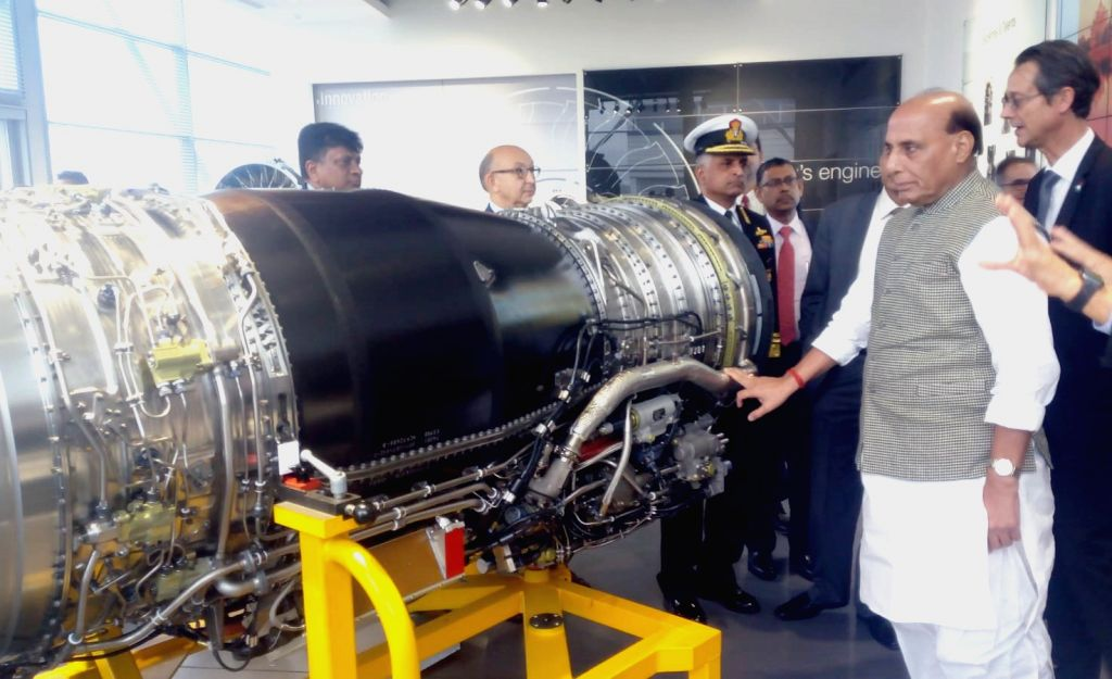 Defence Minister Rajnath Singh visits SAFRAN - the engine making facility for Rafale fighter jet in Paris, France on Oct 9, 2019. - Rajnath Singh