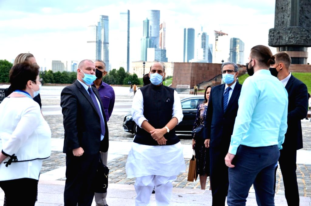 Defence Minister Rajnath Singh visits the Victory Park - a monument dedicated to Russia's victory in World War II during his 3-day visit to the country, in Moscow on June 23, 2020. - Rajnath Singh